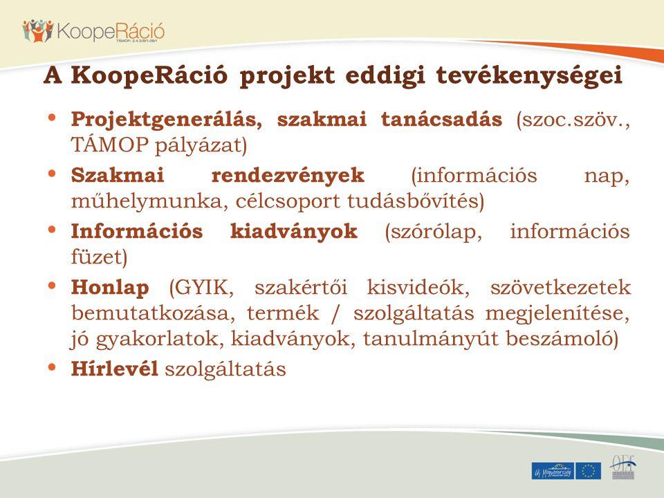 A KoopeRáció projekt eddigi tevékenységei