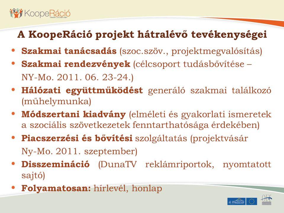 A KoopeRáció projekt hátralévő tevékenységei
