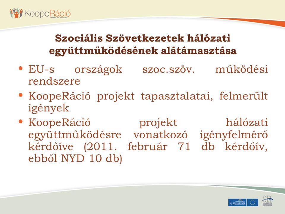 Szociális Szövetkezetek hálózati együttműködésének alátámasztása