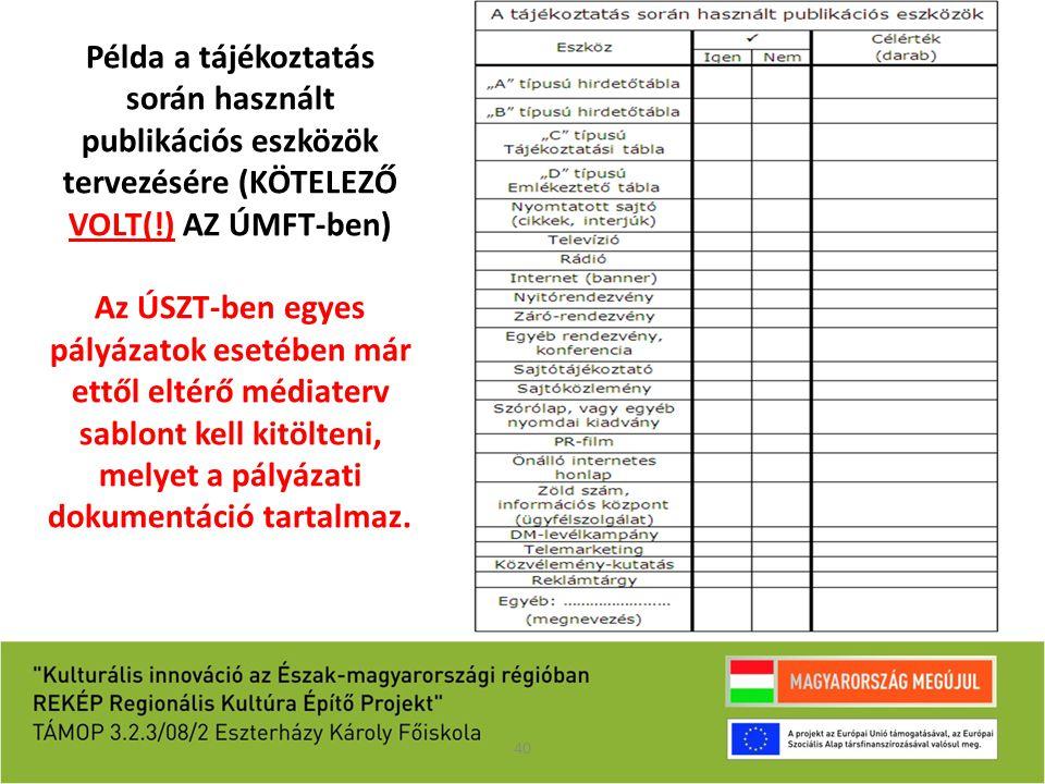 Példa a tájékoztatás során használt publikációs eszközök tervezésére (KÖTELEZŐ VOLT(!) AZ ÚMFT-ben)