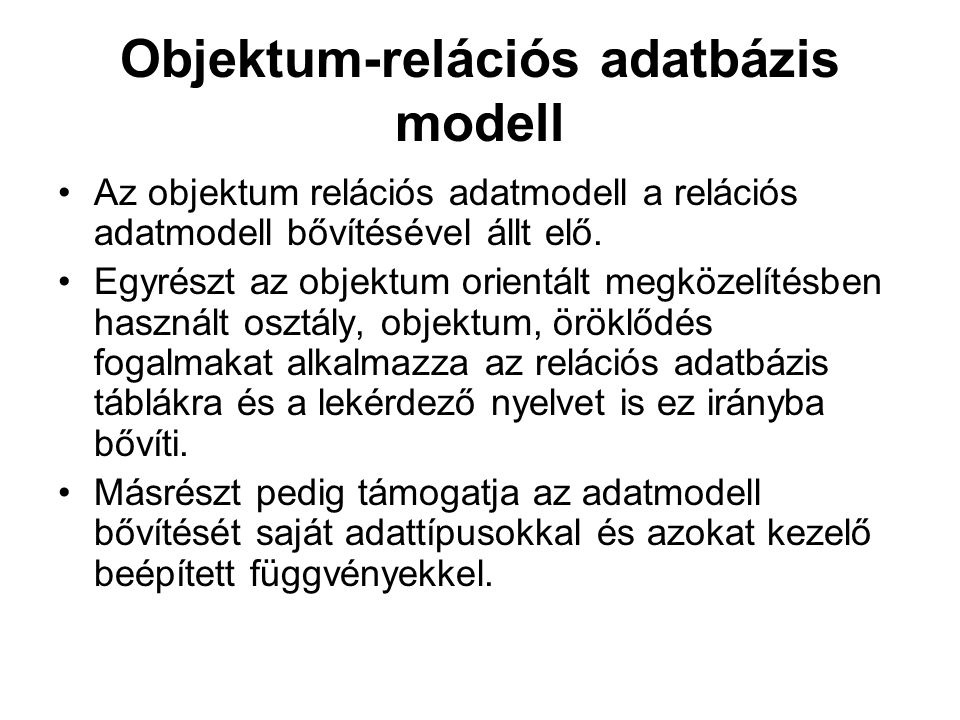 Objektum-relációs adatbázis modell