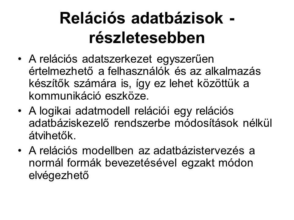 Relációs adatbázisok -részletesebben