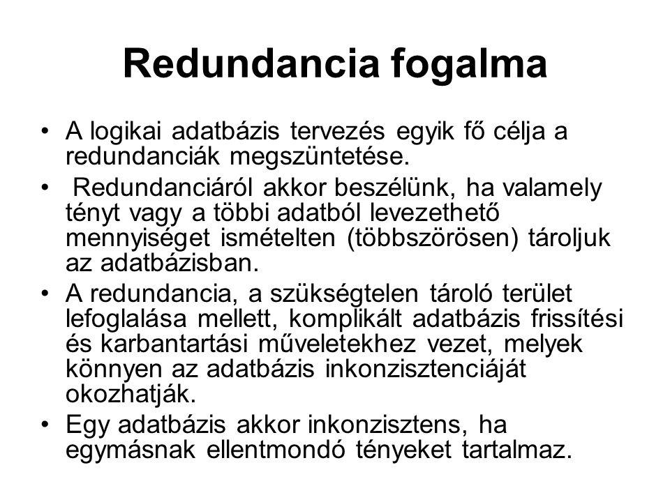 Redundancia fogalma A logikai adatbázis tervezés egyik fő célja a redundanciák megszüntetése.