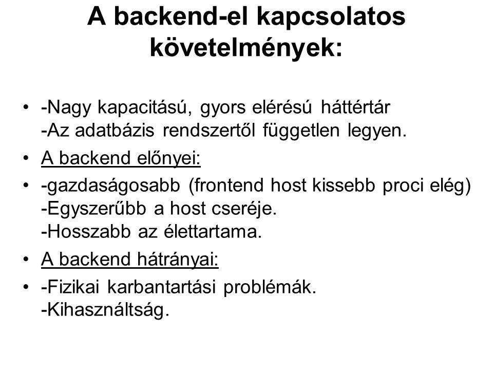 A backend-el kapcsolatos követelmények:
