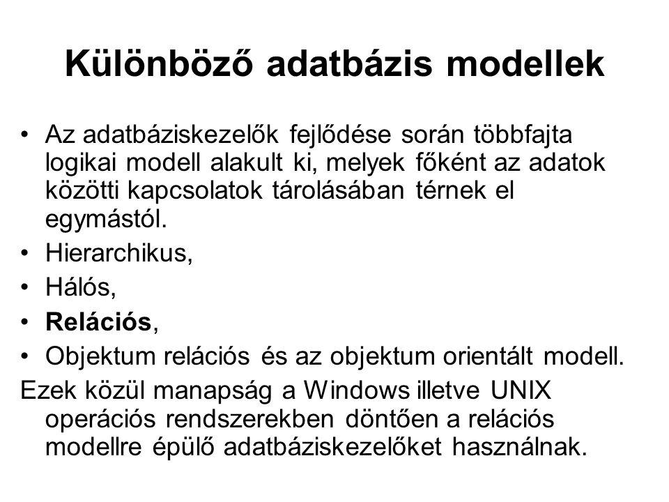 Különböző adatbázis modellek