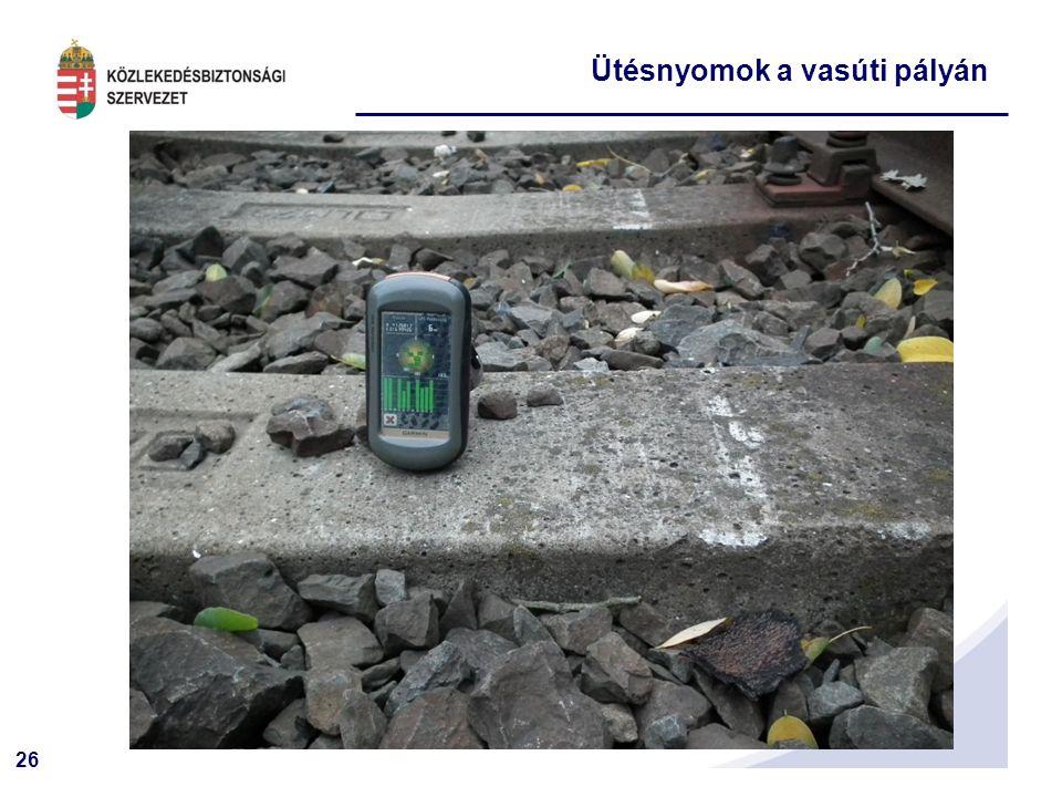 Ütésnyomok a vasúti pályán