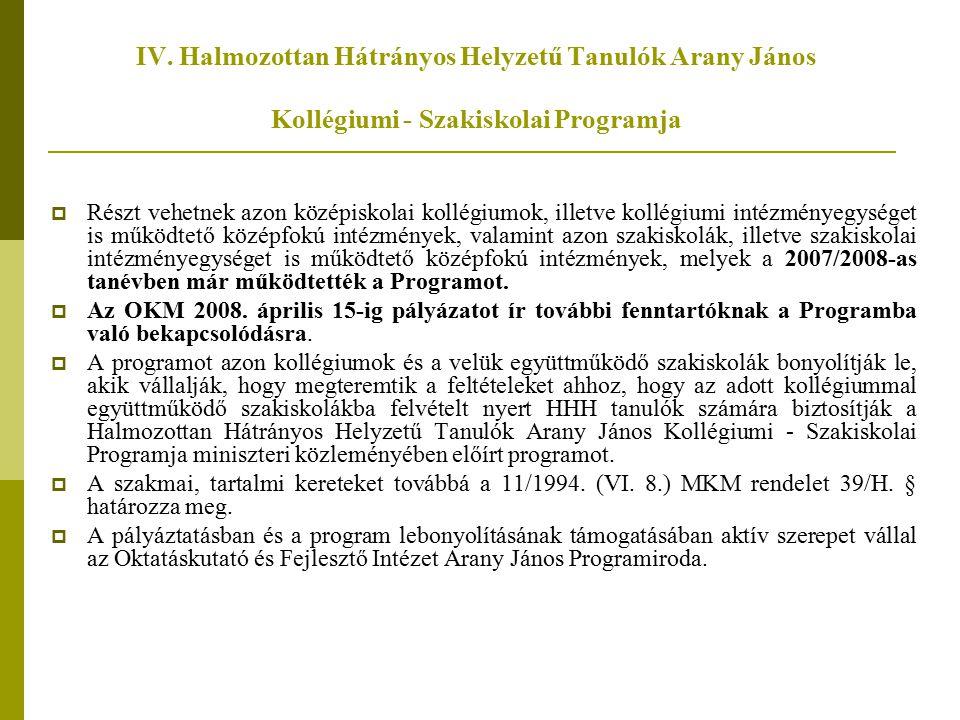 IV. Halmozottan Hátrányos Helyzetű Tanulók Arany János Kollégiumi - Szakiskolai Programja
