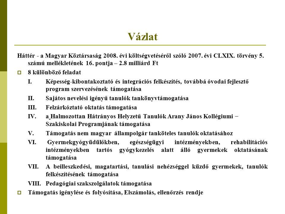 Vázlat Háttér - a Magyar Köztársaság 2008. évi költségvetéséről szóló 2007. évi CLXIX. törvény 5. számú mellékletének 16. pontja – 2.8 milliárd Ft.