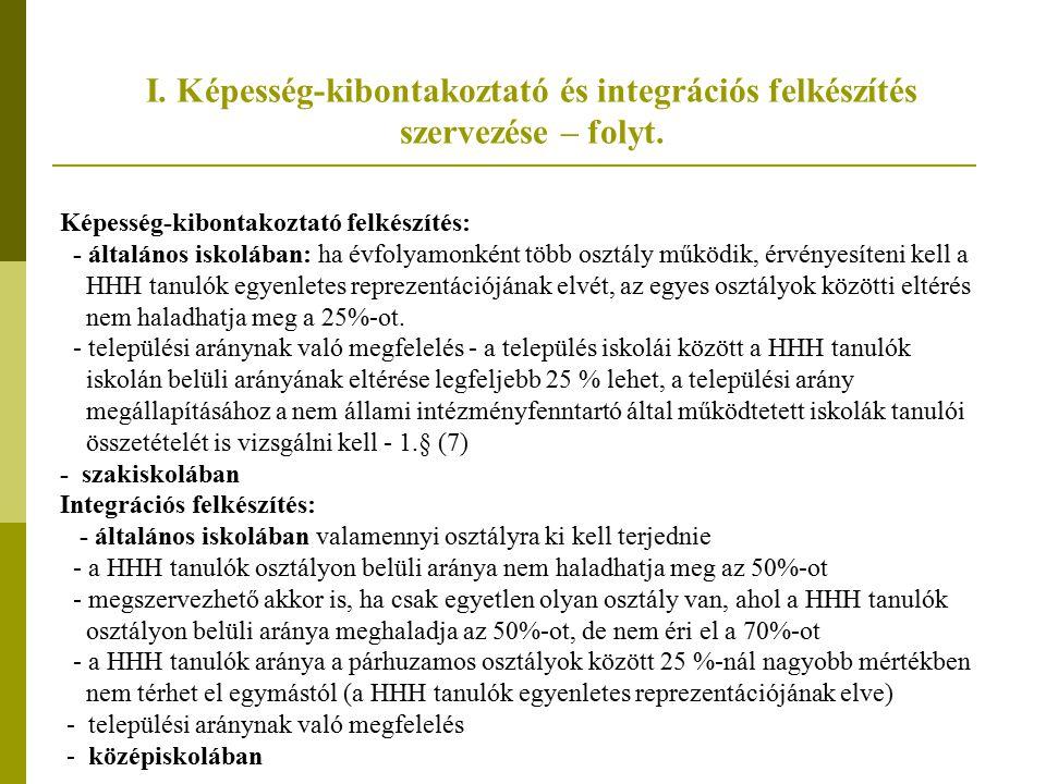 I. Képesség-kibontakoztató és integrációs felkészítés szervezése – folyt.
