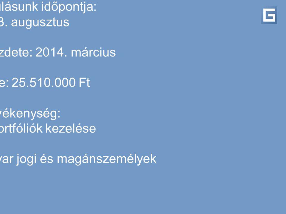 Megalakulásunk időpontja: 2013. augusztus