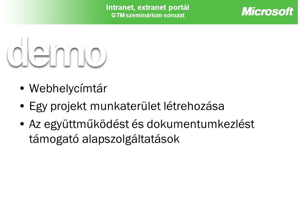 Webhelycímtár Egy projekt munkaterület létrehozása.