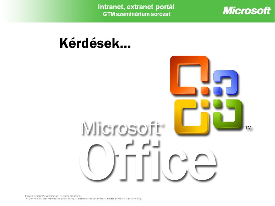 Kérdések… © 2003 Microsoft Corporation. All rights reserved.