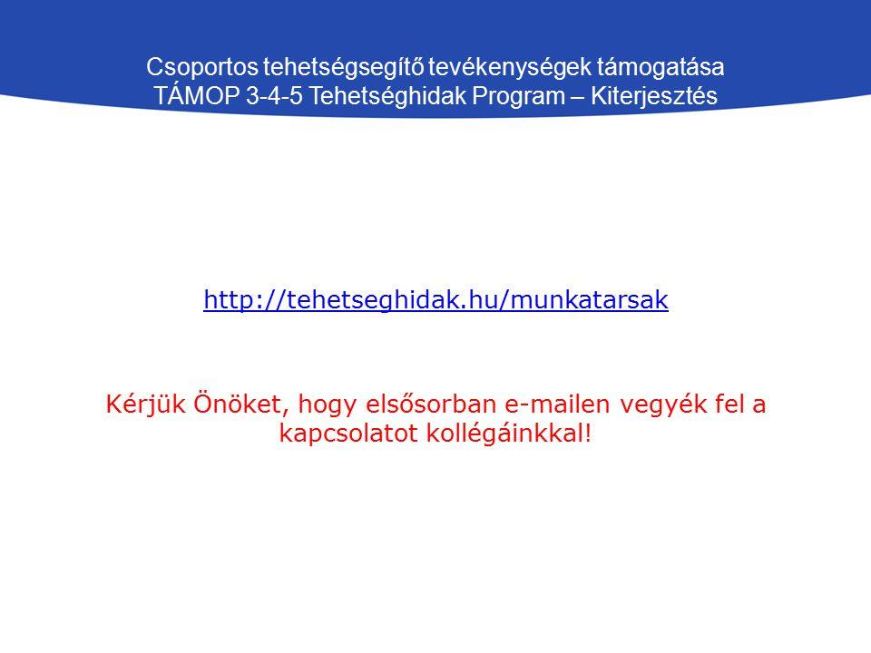 Csoportos tehetségsegítő tevékenységek támogatása TÁMOP 3-4-5 Tehetséghidak Program – Kiterjesztés