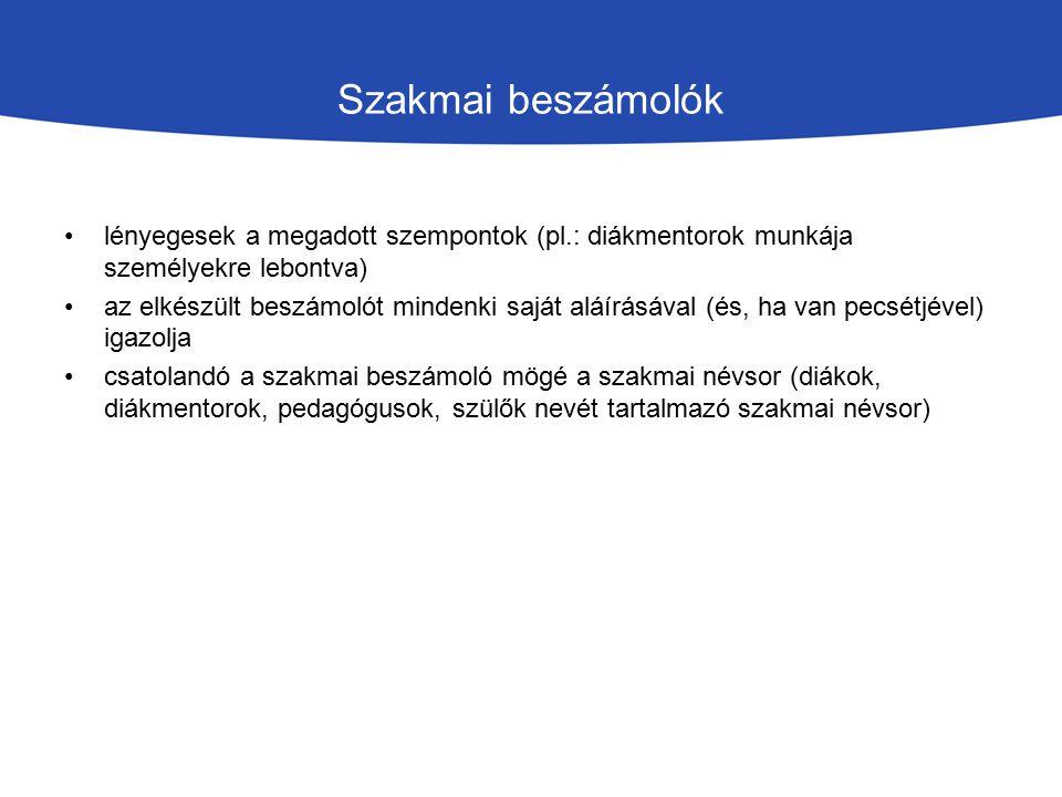 Szakmai beszámolók lényegesek a megadott szempontok (pl.: diákmentorok munkája személyekre lebontva)