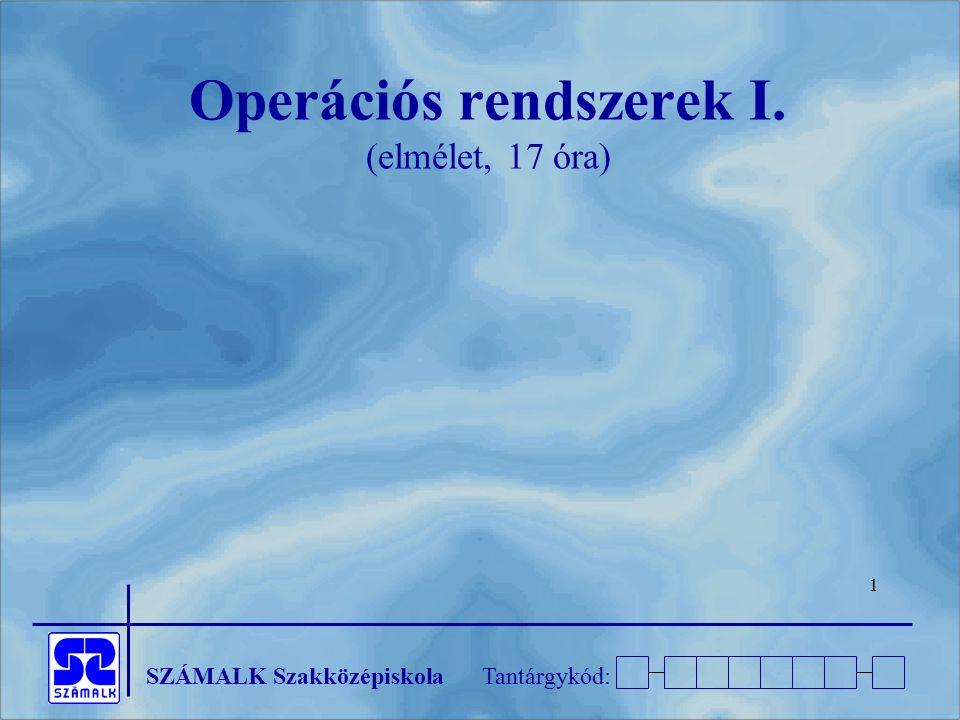 Operációs rendszerek I. (elmélet, 17 óra)