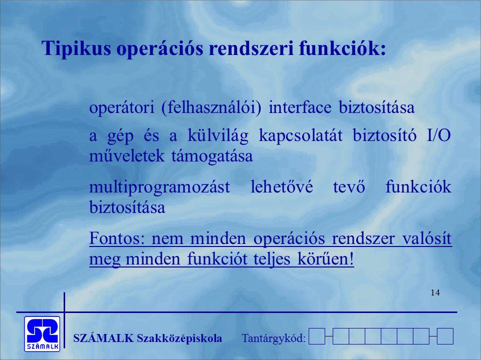 Tipikus operációs rendszeri funkciók: