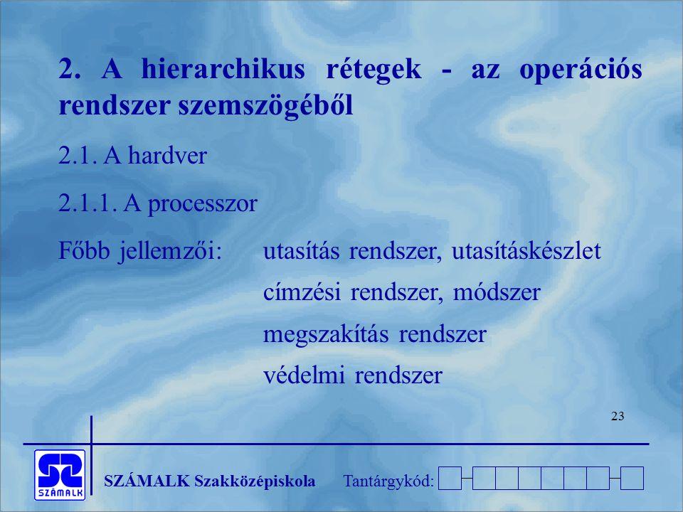 2. A hierarchikus rétegek - az operációs rendszer szemszögéből