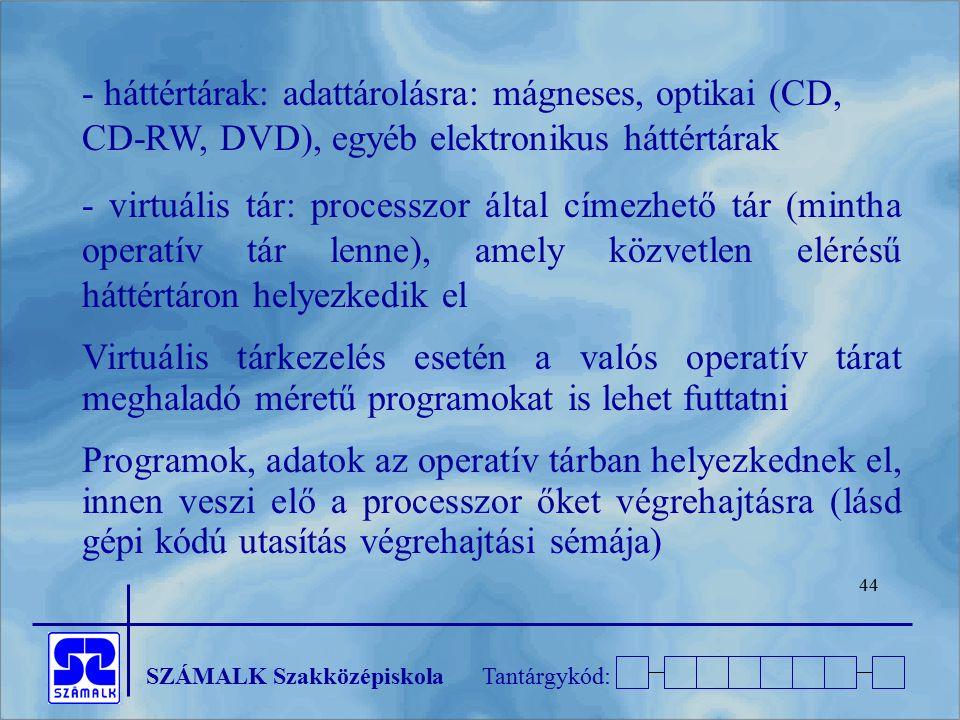 - háttértárak: adattárolásra: mágneses, optikai (CD, CD-RW, DVD), egyéb elektronikus háttértárak