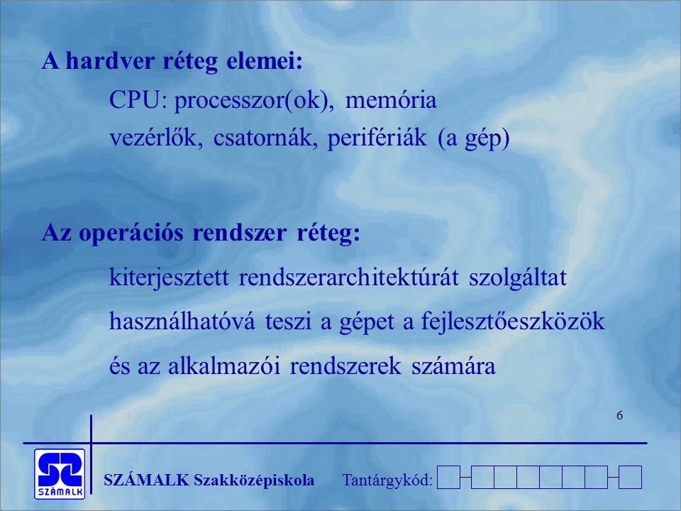 A hardver réteg elemei:
