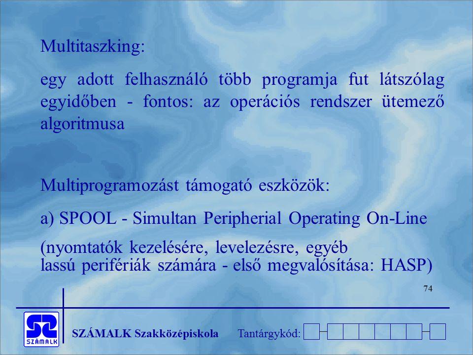 Multitaszking: egy adott felhasználó több programja fut látszólag egyidőben - fontos: az operációs rendszer ütemező algoritmusa.