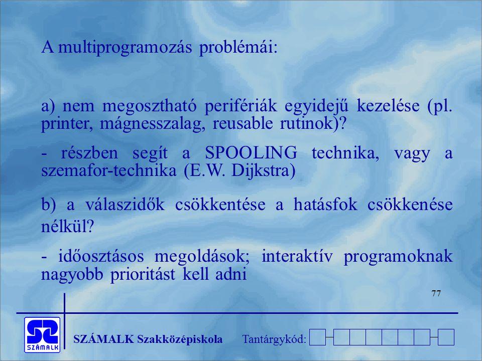 A multiprogramozás problémái: