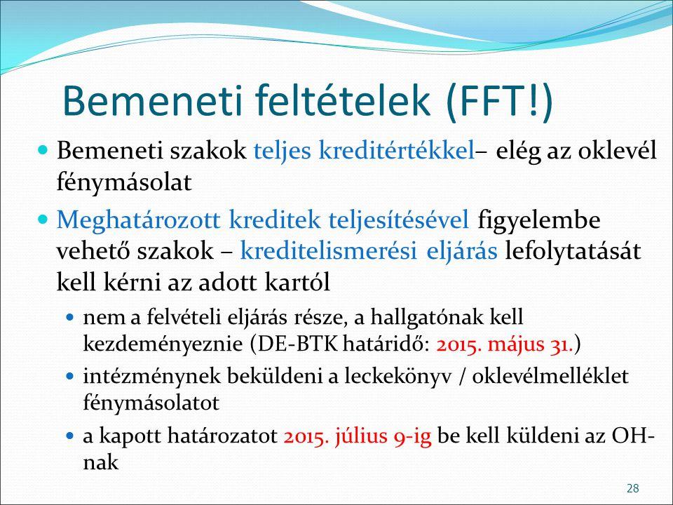 Bemeneti feltételek (FFT!)