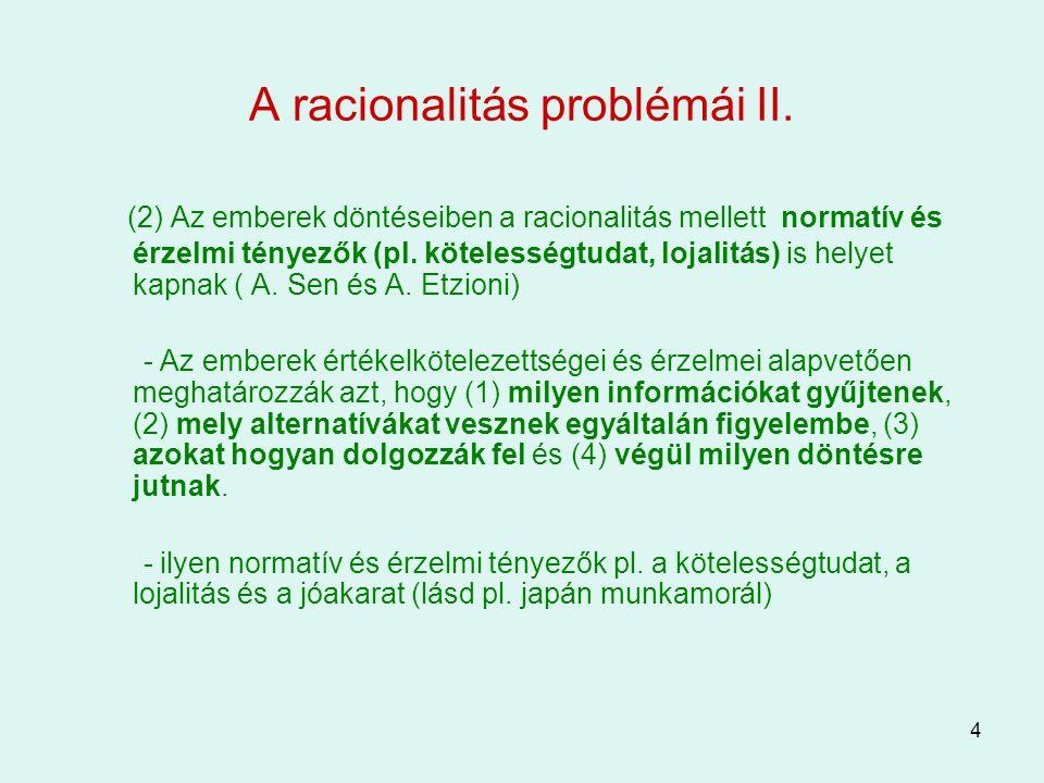 A racionalitás problémái II.