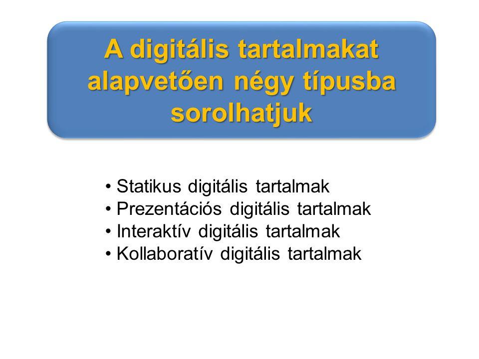 A digitális tartalmakat alapvetően négy típusba sorolhatjuk