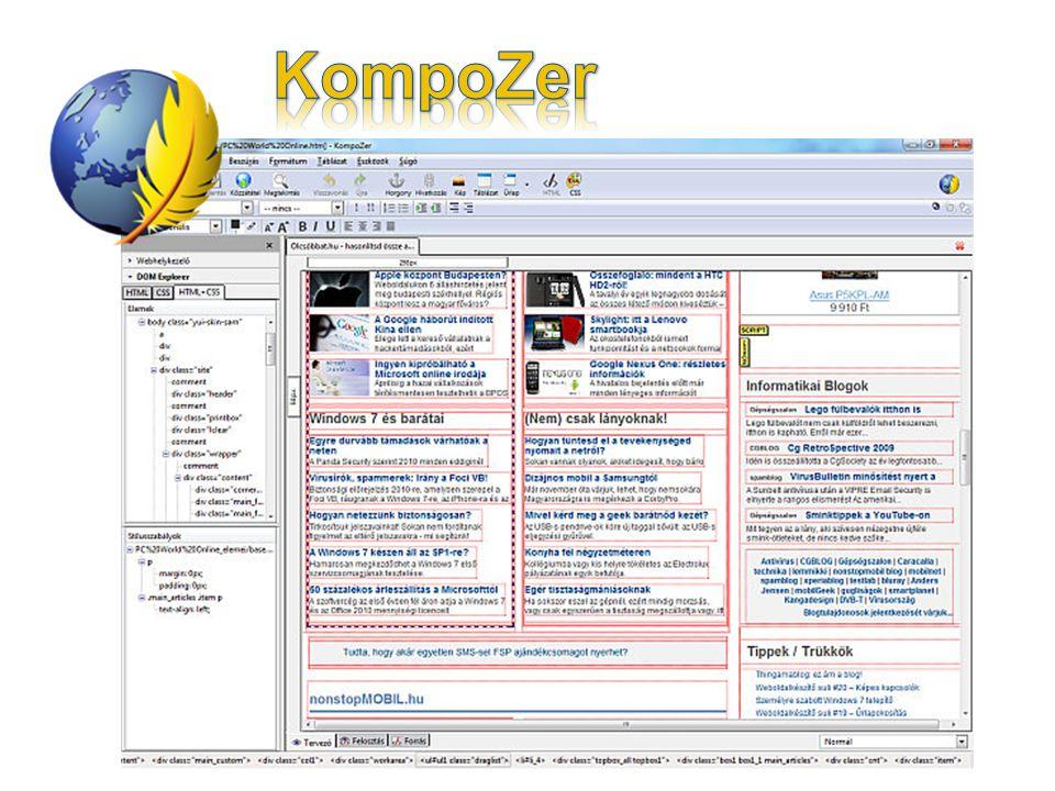 KompoZer A KompoZer, a szabadon használható NVU utóda, azaz egy szabad HTML-Editor.
