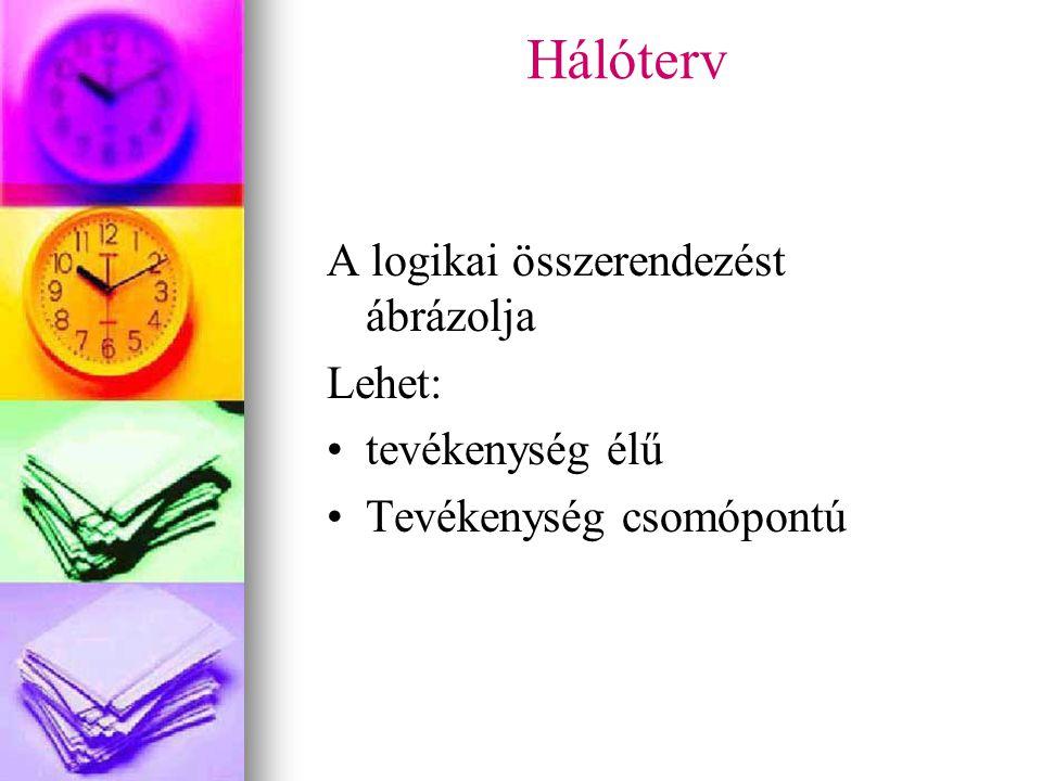 Hálóterv A logikai összerendezést ábrázolja Lehet: tevékenység élű