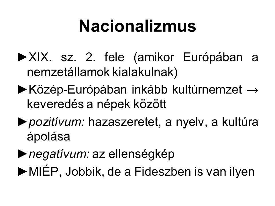 Nacionalizmus XIX. sz. 2. fele (amikor Európában a nemzetállamok kialakulnak) Közép-Európában inkább kultúrnemzet → keveredés a népek között.