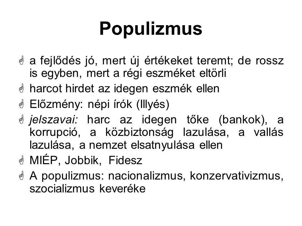 Populizmus a fejlődés jó, mert új értékeket teremt; de rossz is egyben, mert a régi eszméket eltörli.