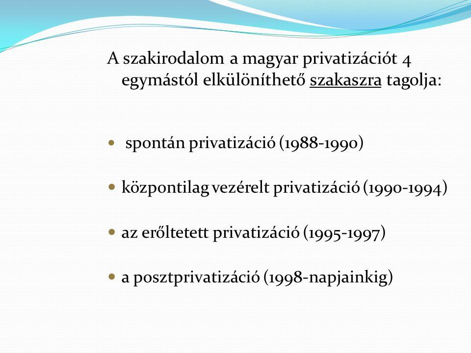 A szakirodalom a magyar privatizációt 4 egymástól elkülöníthető szakaszra tagolja: