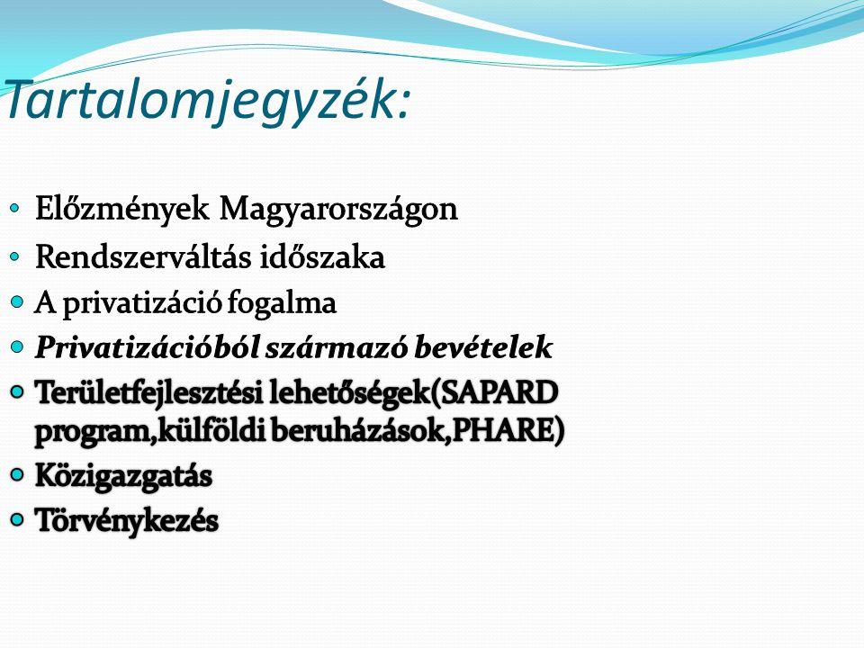 Tartalomjegyzék: Előzmények Magyarországon Rendszerváltás időszaka