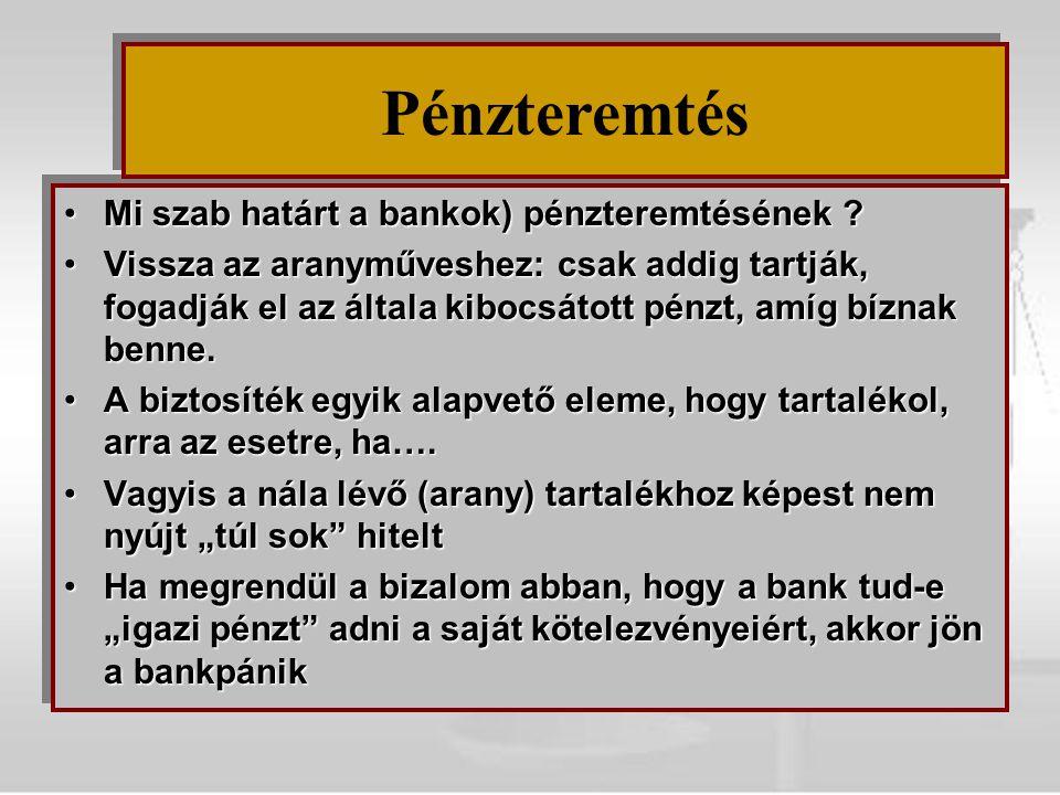Pénzteremtés Mi szab határt a bankok) pénzteremtésének