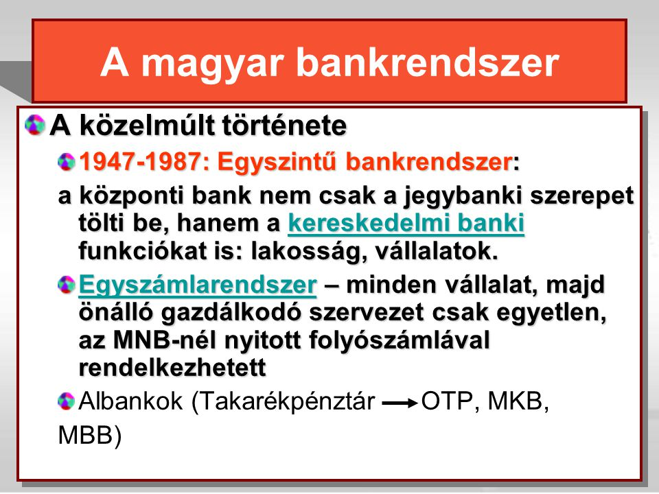 A magyar bankrendszer A közelmúlt története