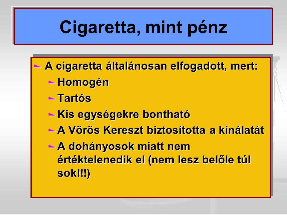 Cigaretta, mint pénz A cigaretta általánosan elfogadott, mert: Homogén