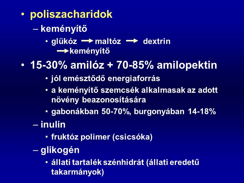 15-30% amilóz + 70-85% amilopektin