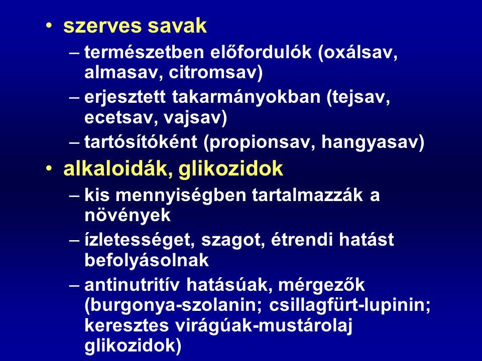 alkaloidák, glikozidok