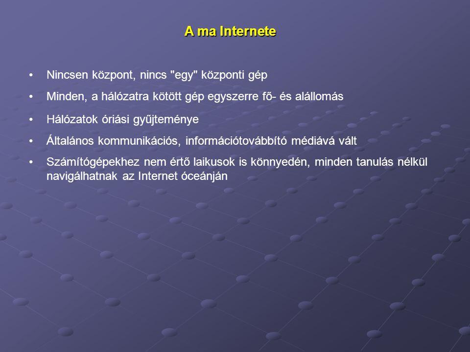 A ma Internete Nincsen központ, nincs egy központi gép