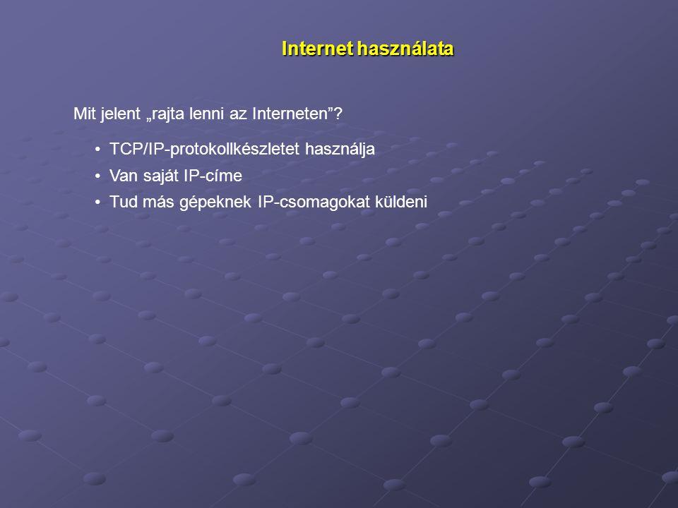 """Internet használata Mit jelent """"rajta lenni az Interneten"""