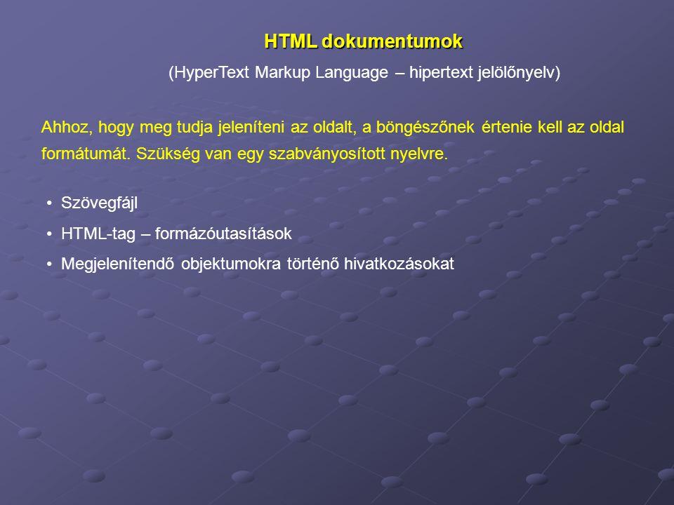 HTML dokumentumok (HyperText Markup Language – hipertext jelölőnyelv)