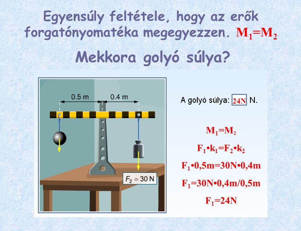 Egyensúly feltétele, hogy az erők forgatónyomatéka megegyezzen. M1=M2