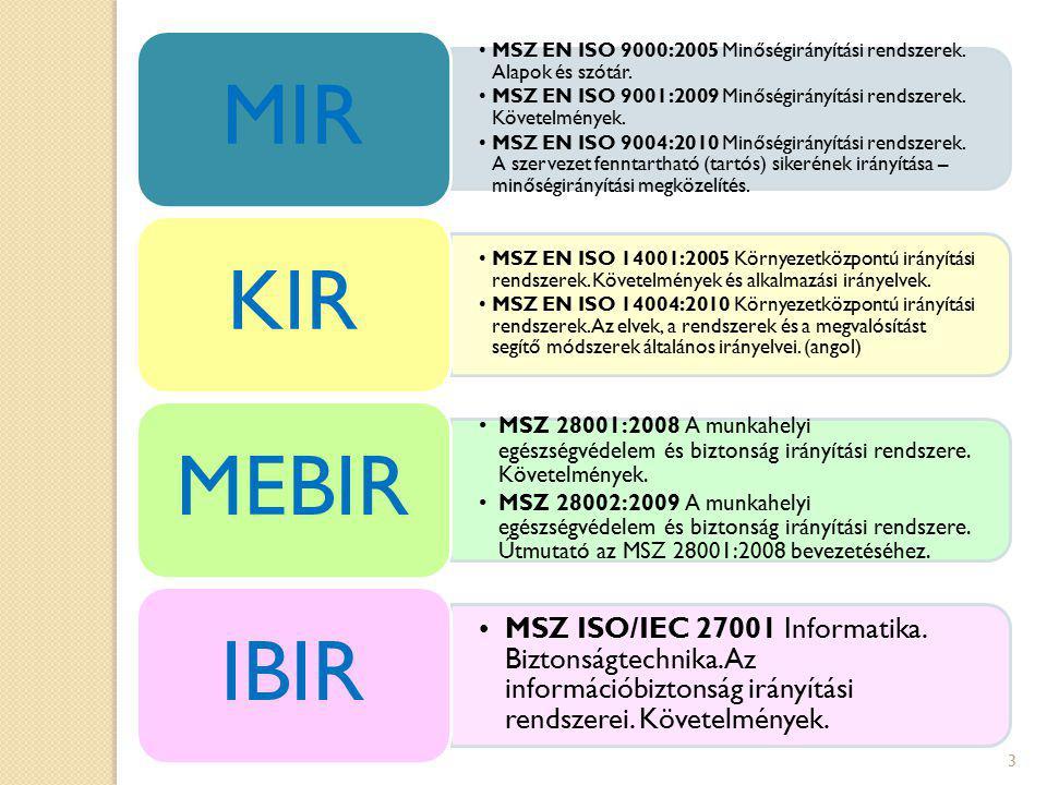 MIR MSZ EN ISO 9000:2005 Minőségirányítási rendszerek. Alapok és szótár. MSZ EN ISO 9001:2009 Minőségirányítási rendszerek. Követelmények.