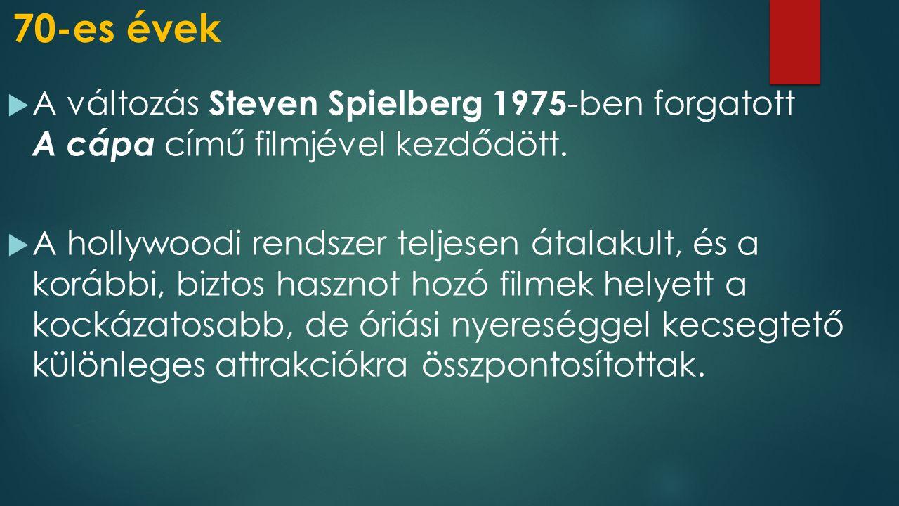 70-es évek A változás Steven Spielberg 1975-ben forgatott A cápa című filmjével kezdődött.