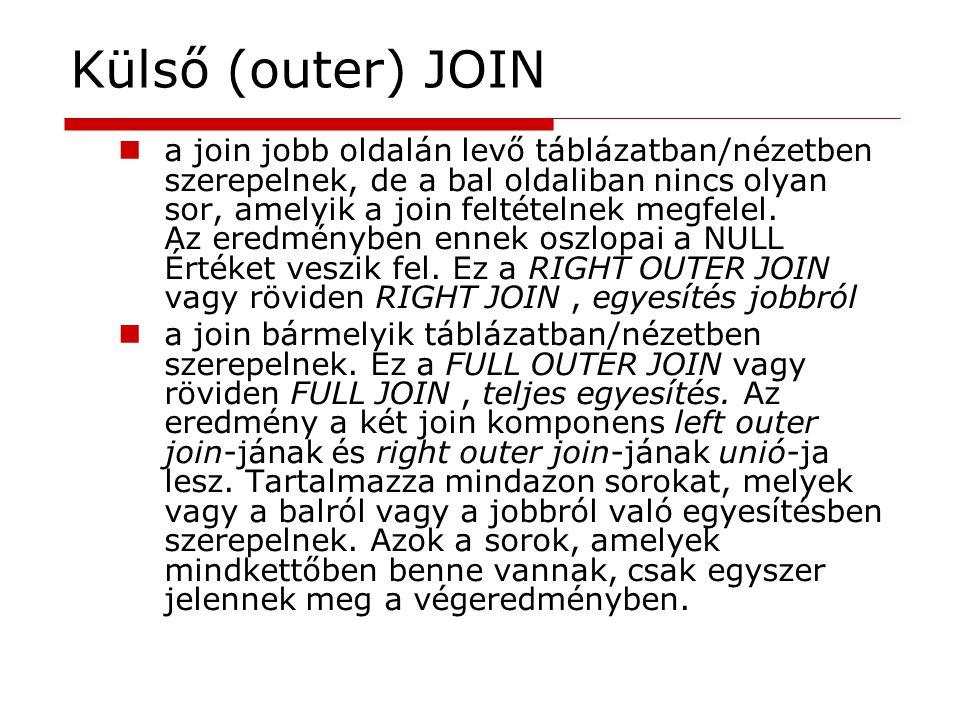 Külső (outer) JOIN