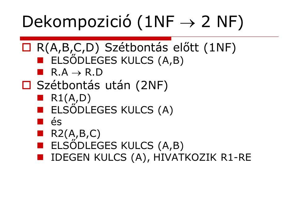 Dekompozició (1NF  2 NF) R(A,B,C,D) Szétbontás előtt (1NF)