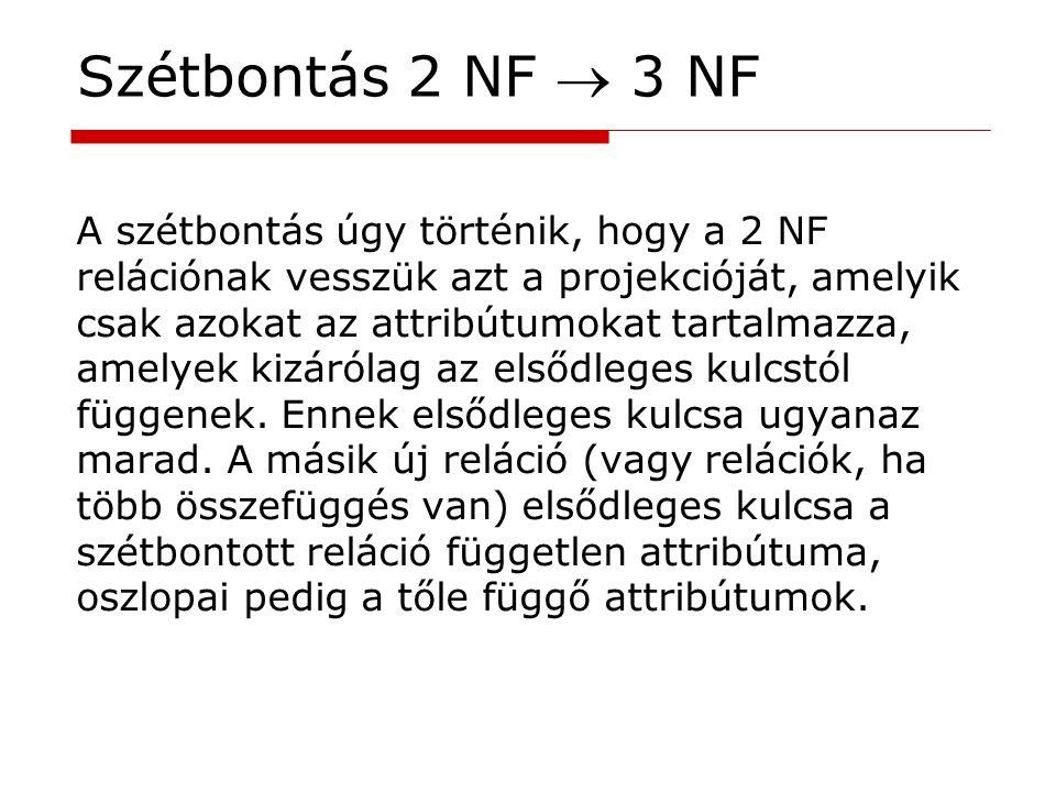 Szétbontás 2 NF  3 NF