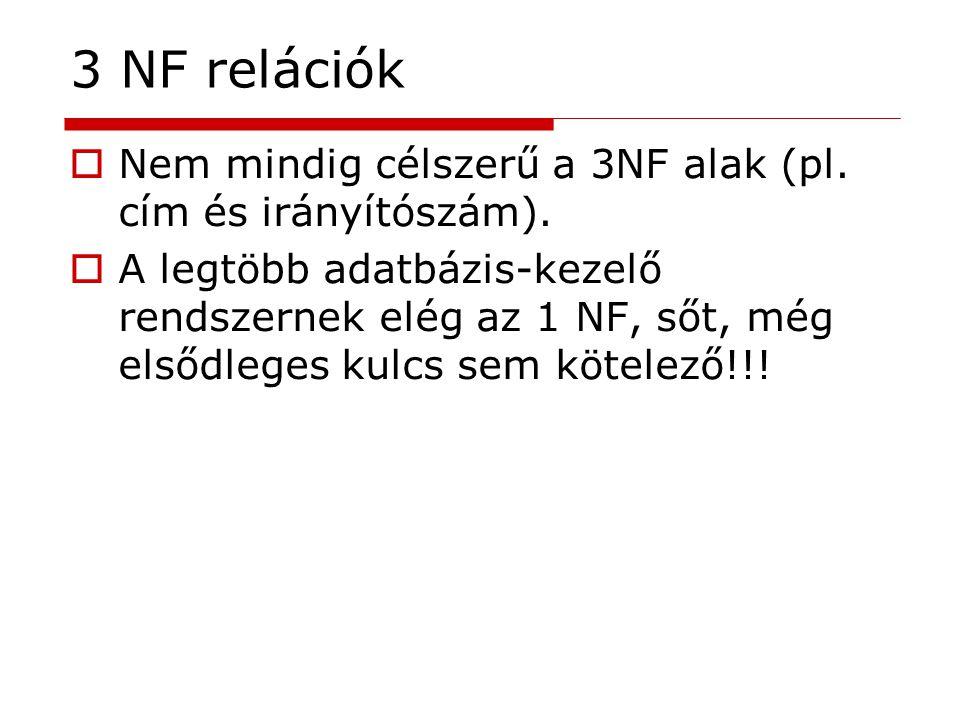 3 NF relációk Nem mindig célszerű a 3NF alak (pl. cím és irányítószám).