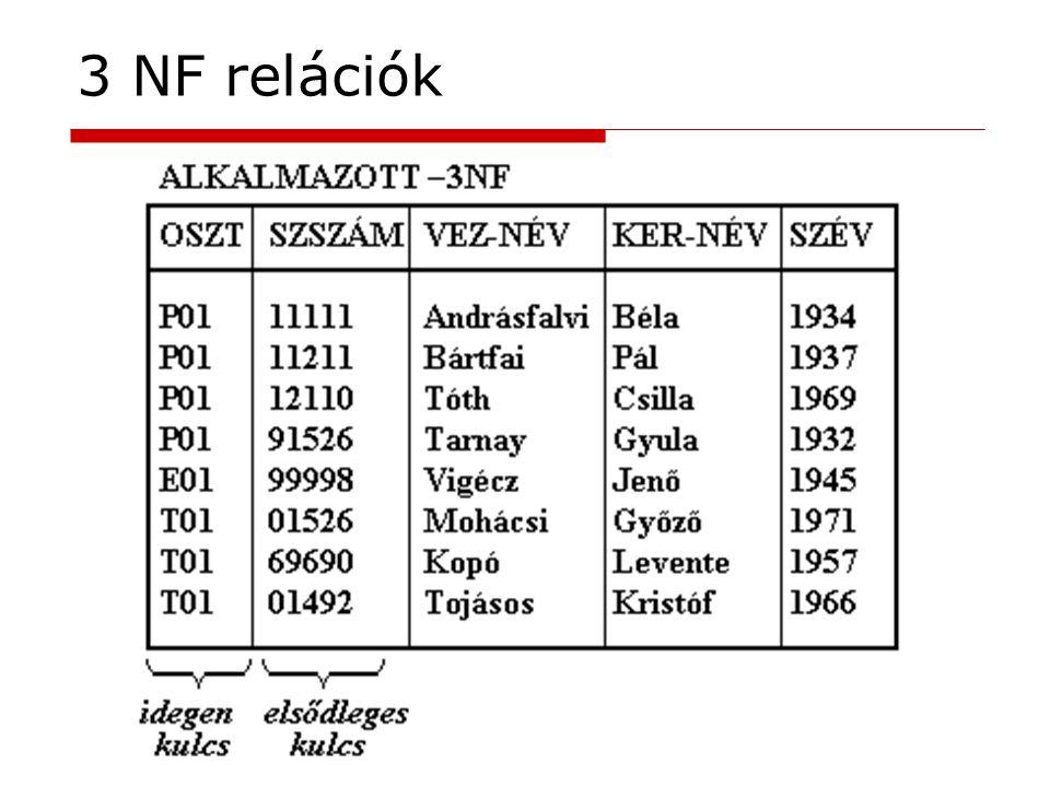 3 NF relációk